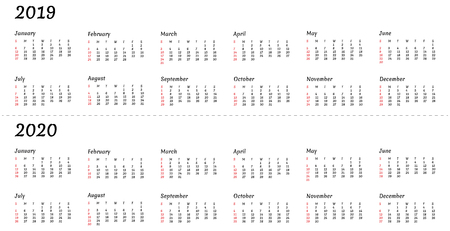 2019 2020 calendar year - illustration. The week starts on Sunday. American standard