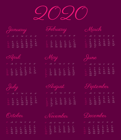 2020 calendar year - illustration, vintage font. The week starts on Sunday according to the American standard