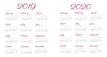 2019 2020 calendar year - illustration, vintage font. The week starts on Sunday. American standard Stok Fotoğraf