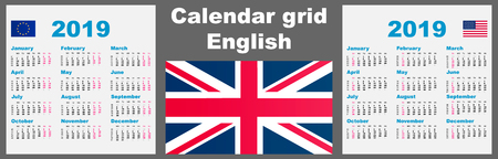 Calendar english 2019 Set grid wall ISO 8601 Illustration template with week numbering. illustration