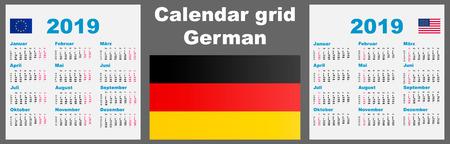 Calendar deutsche, german 2019 Set grid wall ISO 8601 Illustration template with week numbering. illustration