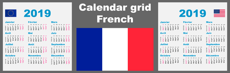 Calendar french france 2019. Set grid wall ISO 8601 Illustration template with week numbering. Stok Fotoğraf