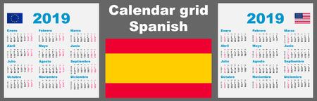 Calendar spanish, hispanic 2019 Set grid wall ISO 8601 Illustration template with week numbering. illustration