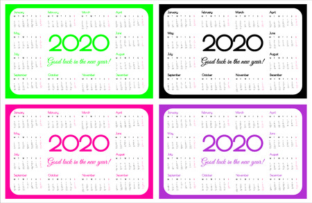 2020 year pocket calendar. A set of four colors: UFO green, plastic pink and proton purple. Simple design. Week starts on monday