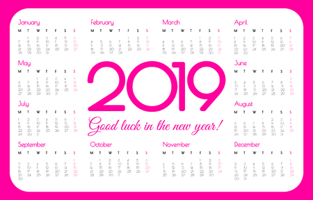 2019 year pocket calendar. Pink color, simple design. Week starts on Monday, illustration.