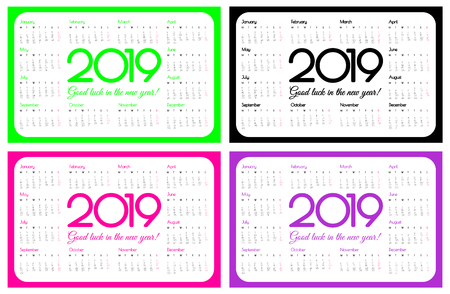 2019 year pocket calendar. A set of four colors: UFO green, plastic pink and proton purple. Simple design. Week starts on monday