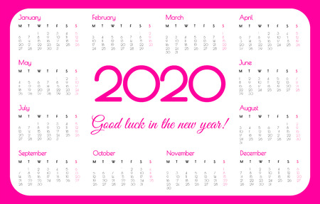 2020 year pocket calendar. Pink color, simple design. Week starts on Monday. Stok Fotoğraf