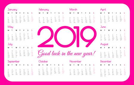 2019 year pocket calendar. Pink color, simple design. Week starts on Monday. Vector illustration.