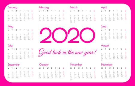 2020 year pocket calendar. Pink color, simple design. Week starts on Monday. Vector Stok Fotoğraf