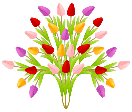 Beautiful floral bouquet of tulips in the form of a tree of flowers, bright colorful multicolored isolated on a white background. Suitable for registration of a greeting card.