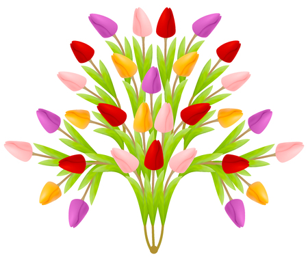Beautiful floral bouquet of tulips in the form of a tree of flowers, bright colorful multicolored isolated on a white background. Suitable for registration of a greeting card from March 8.