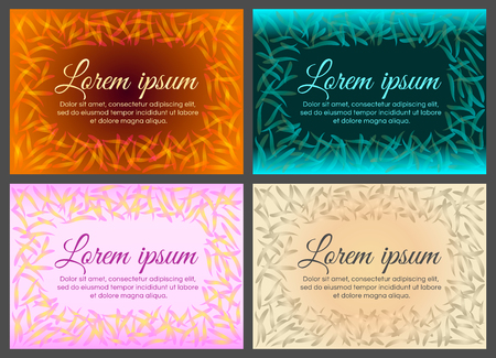 Set of frame of flower petals with place for text. Bright, colorful design is suitable for decoration of a greeting card, label for perfumes, fragrances, cosmetics, drinks. Vector Stok Fotoğraf