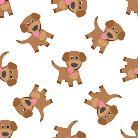 Funny puppy dog cartoon seamless pattern, illustration. Stok Fotoğraf