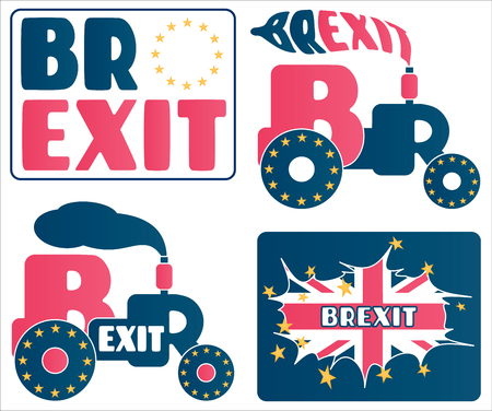 Brexit - UK exit from European Union EU. A set of cartoons and concepts about the Great Britain referendum.