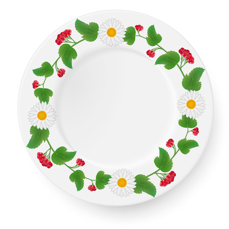Plate with a pattern of viburnum and daisies gerberas on a white background. Also suitable for decoration autumn compositions. Vector illustration.