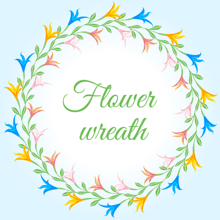 A wreath in the form of a circle of woven multicolored lilies. Vector