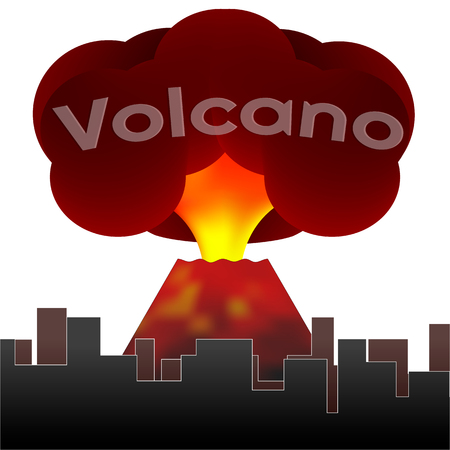 Erupting volcano on the background of the houses of the city. Vector 向量圖像