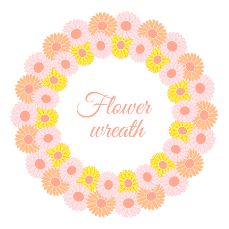 Round spring wreath of gerberas and daisies. Vector