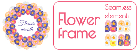 Circle spring wreath of gerberas and daisies PLUS seamless brush element that can be used to create your own wreath design. Vector illustration.