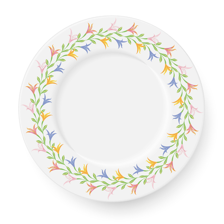 Plate with a pattern of lilies on a white background. A wreath of flowers is suitable for registration of bright spring compositions. Vector illustration