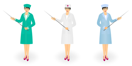 Woman doctor in medical coat holding pointer with stick. Young nurse with a pointer. Vector illustration on white background.
