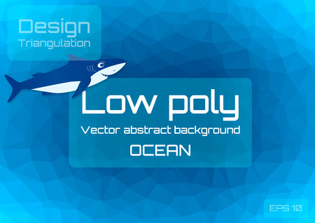 Low poly dark blue abstract background. Geometric triangulation of ocean depths. Textured template