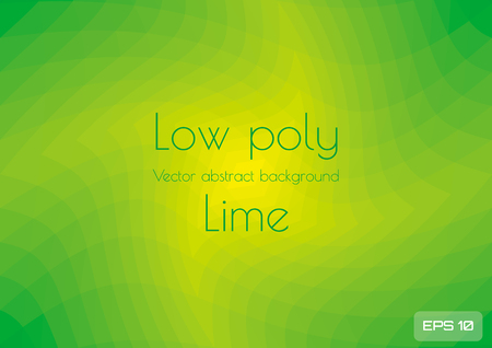 Low poly green lime abstract gradient background. Geometric triangulation in ufo green gradient style. Textured template Illustration