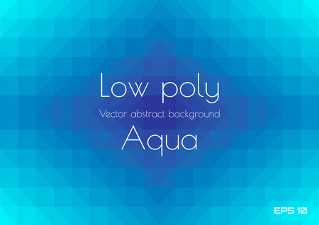 Abstract low poly aqua blue background. Geometric triangles textured vector illustration