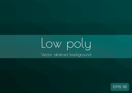 Abstract polygonal dark green low poly wave background. Geometric triangles in the form of wavy waves. Textured Vector Çizim