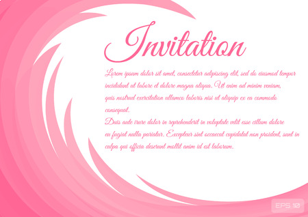 The invitation card is decorated with floral curlicues. Vector illustration