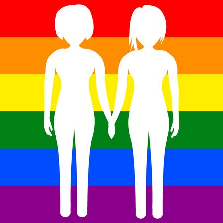 Two lysbians holding hands against the background of the LGBT flag