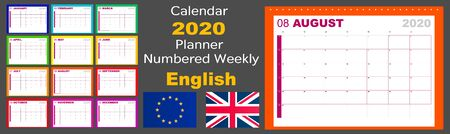 Calendar 2020 scheduler is numbered weekly. The language is English, the standard is European. The week starts on Monday. Illustration