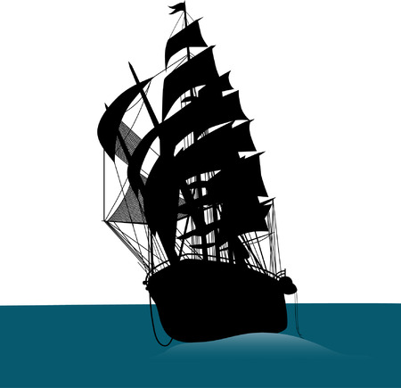 Old sailing ship silhouette  Illustration