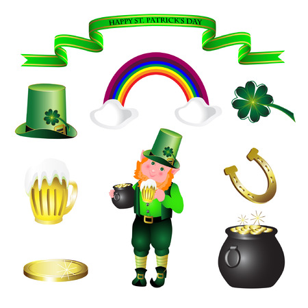irish beer label: Saint Patricks Day symbols vector set isolated on white.  Illustration