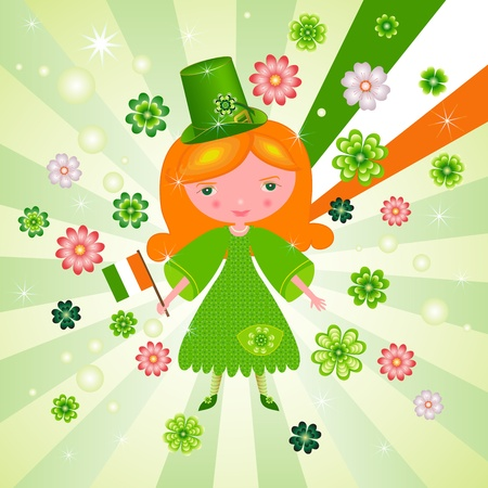 St. Patricks Day card with cute girl  Vector