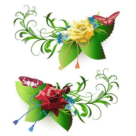 flower arrangement: Flowers arrangement and butterflies, roses and cornflowers  Illustration