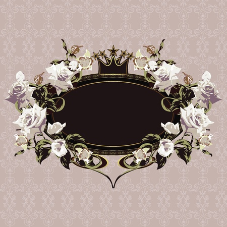 Vintage floral frame with white roses on elegant background