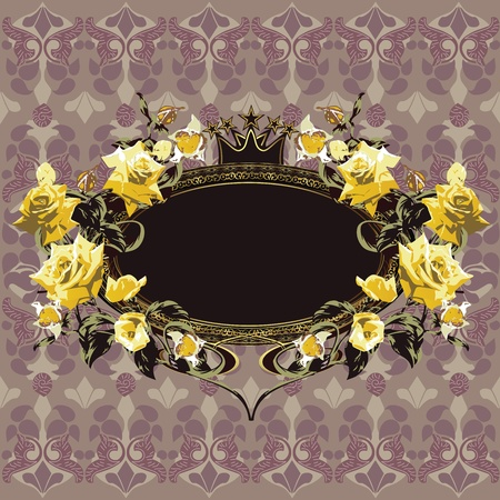 Vintage floral frame with yellow roses on elegant background Vector