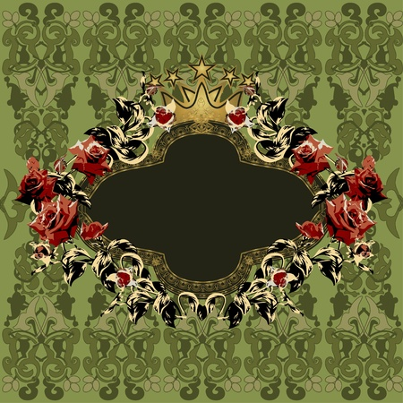 vintage retro frame: Vintage floral frame with red roses on elegant background