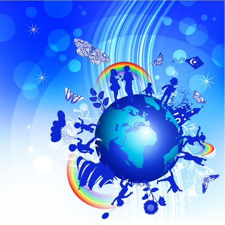 protect earth: Blue background with kids and globe