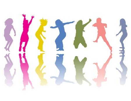 ni�os bailando: Siluetas coloridos con sombras de color  Vectores