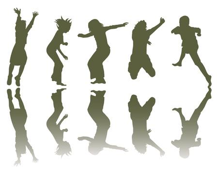 kind silhouet: Gelukkige kinderen silhouetten spelen Stock Illustratie