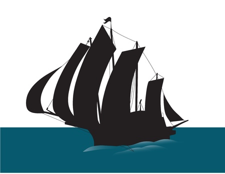Old sailing ship silhouette  Vector
