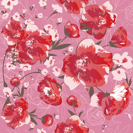 contrast floral: Seamless pattern with red flowers  Illustration