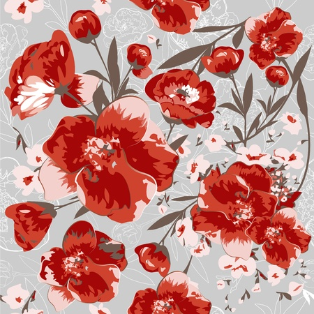 Seamless pattern with red flowers  Vettoriali