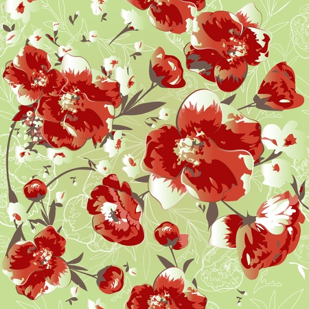 Seamless pattern with red flowers  Illustration