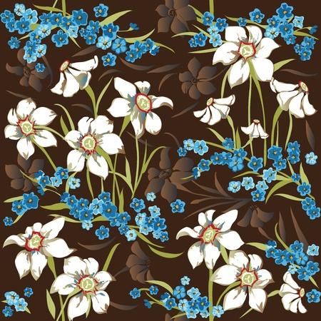 cornflowers: Seamless pattern with daffodils and cornflowers
