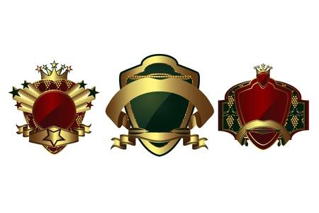 Vector set: gold-framed labels