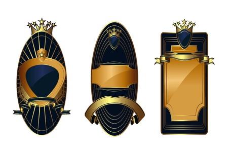 Vector set: gold-framed labels Vector