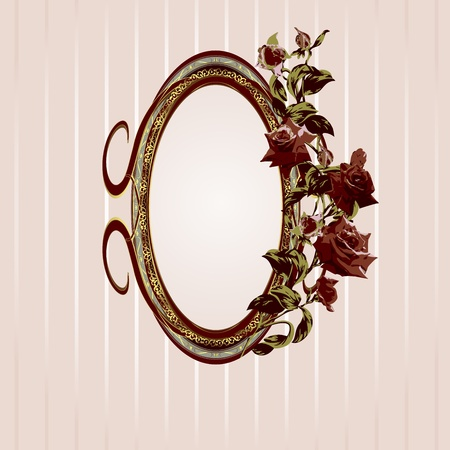 Vintage floral frame with roses vector illustration Vector